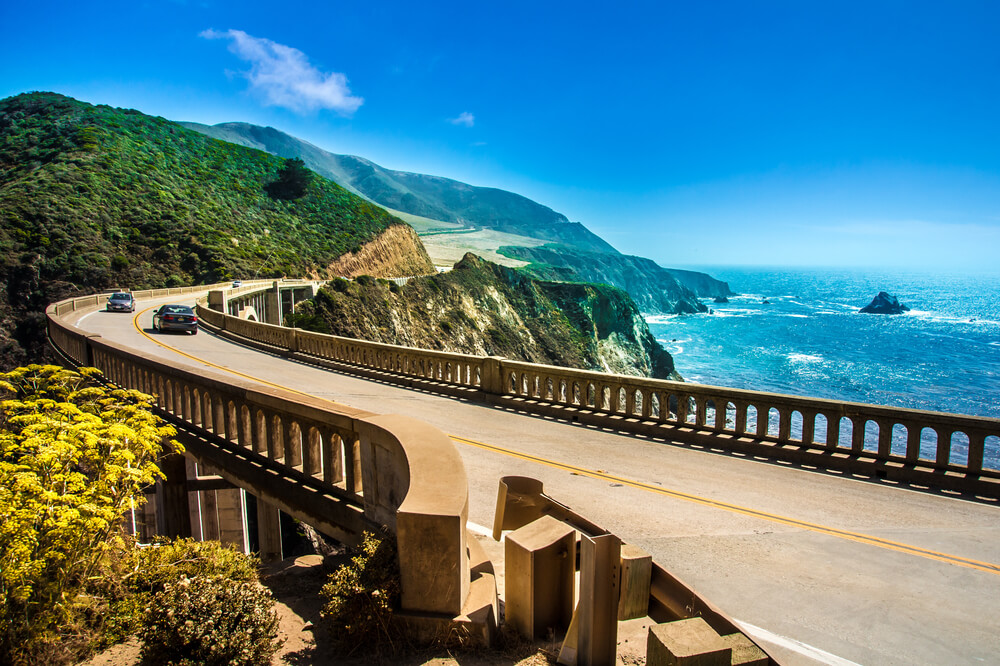 ixby Creek Bridge on Highway at the US West Coast traveling south to Los Angeles