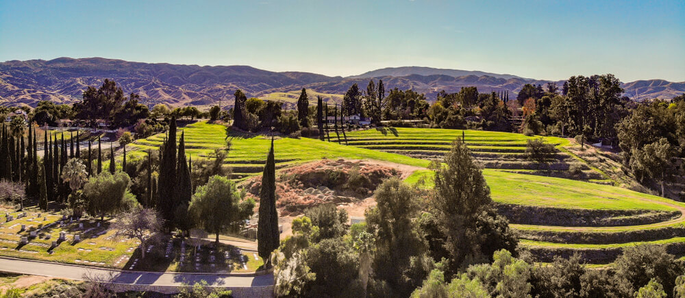 Scenic View Of Terraced Green Hill In Redlands, California
