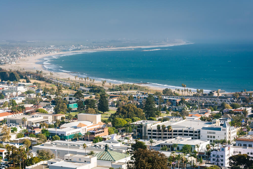 View of downtown Ventura and the Pacific Coast from Grant Park, in Ventura, California