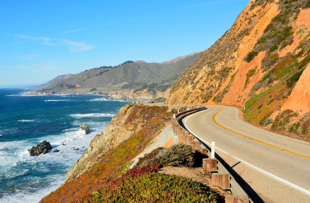 Pacific coast in Big Sur state parks in California