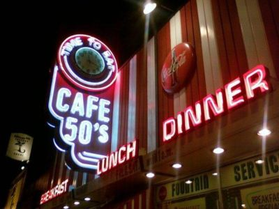 Cafe 50\'s Sign At Night-West Los Angeles