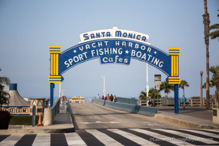 Iconic sign - entrance to Santa Monica Pier
